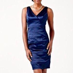 American Living V-Neck Satin Seamed Sheath Dress